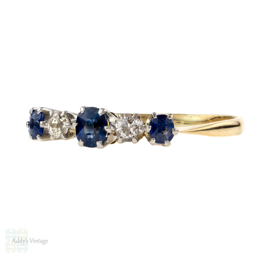 Antique Sapphire & Diamond Ring, Five Stone Alternating Gemstone Ring. 18ct & Platinum.