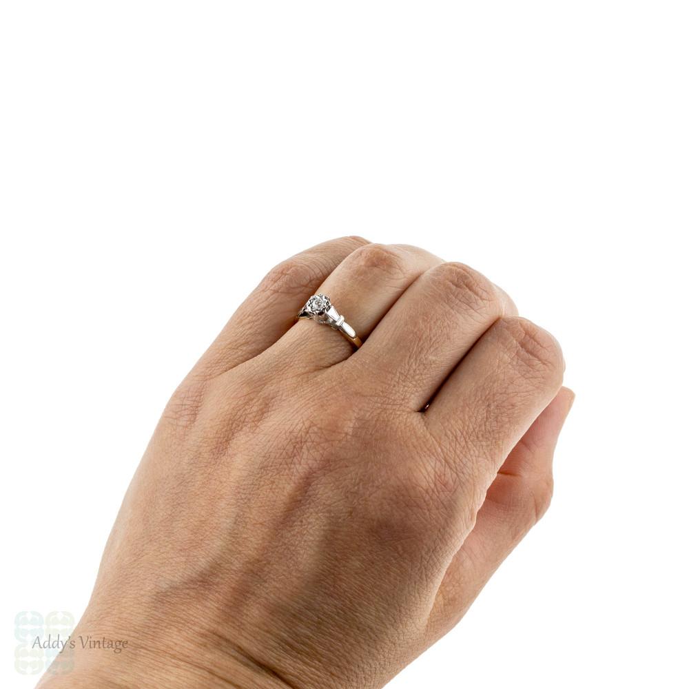 Vintage Diamond Engagement Ring, Single Stone 9ct Yellow Gold & Platinum Ring.