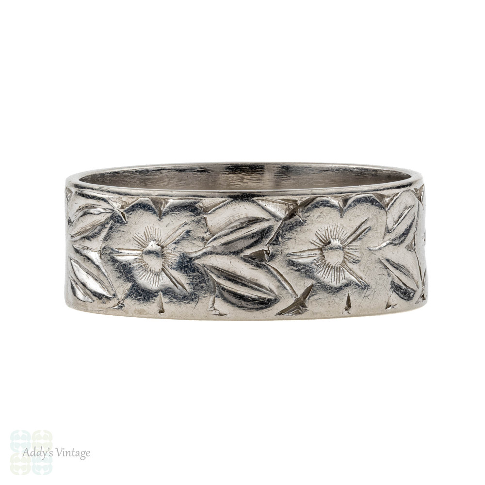 Floral Engraved Platinum Wedding Ring, Wide Ladies Vintage Band. Size H.75 / 4.25.