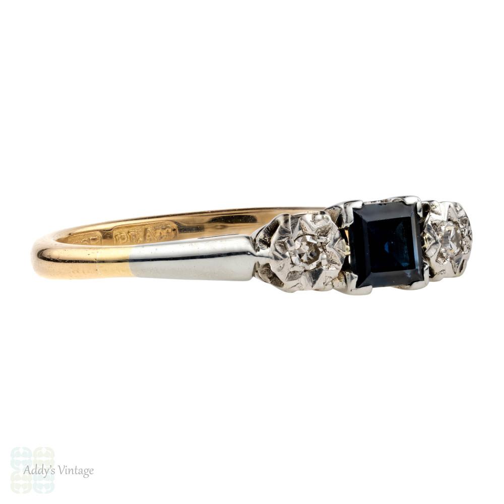 Vintage Sapphire & Diamond Three Stone Engagement Ring. Circa 1940s, 18ct Gold & Platinum.