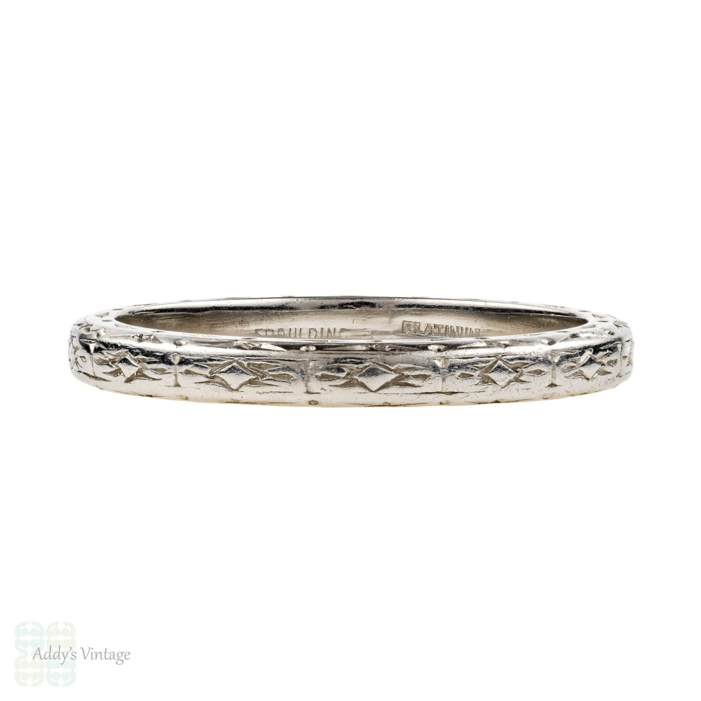 Antique Engraved Platinum Wedding Ring by Spaulding & Co. Floral Design Band, Size N / 6.75.