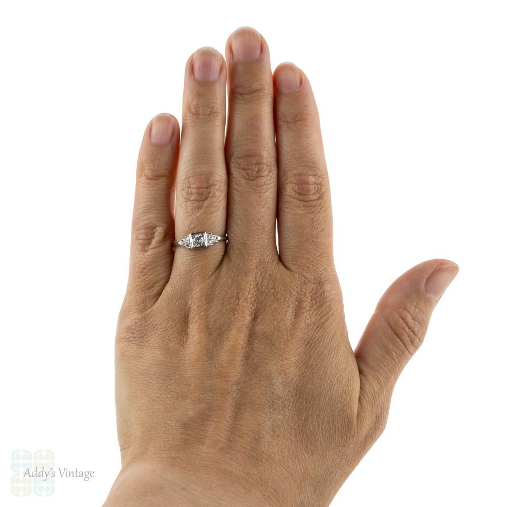 Stepped Diamond 18k Engagement Ring, Art Deco Old European Cut Ring, 18ct White Gold.