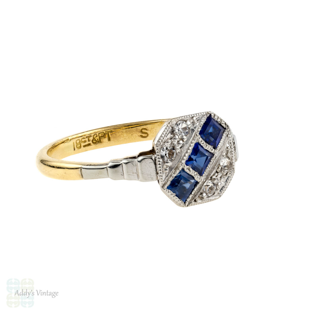 Art Deco Synthetic Sapphire & Spinel Panel Ring. Triple Row Design, 18ct & Platinum.