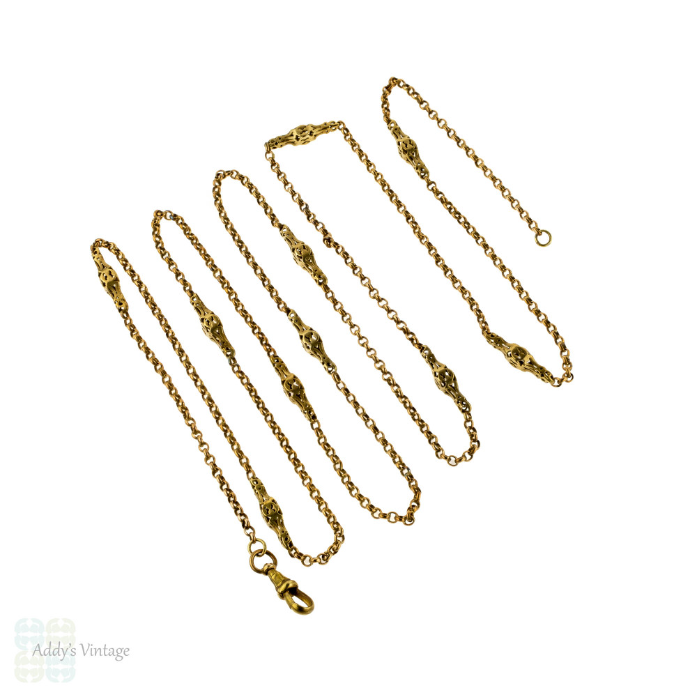 Antique Gilt Metal Guard Chain, Chunky Pierced & Belcher Link Necklace. 127 cm / 50 inches.