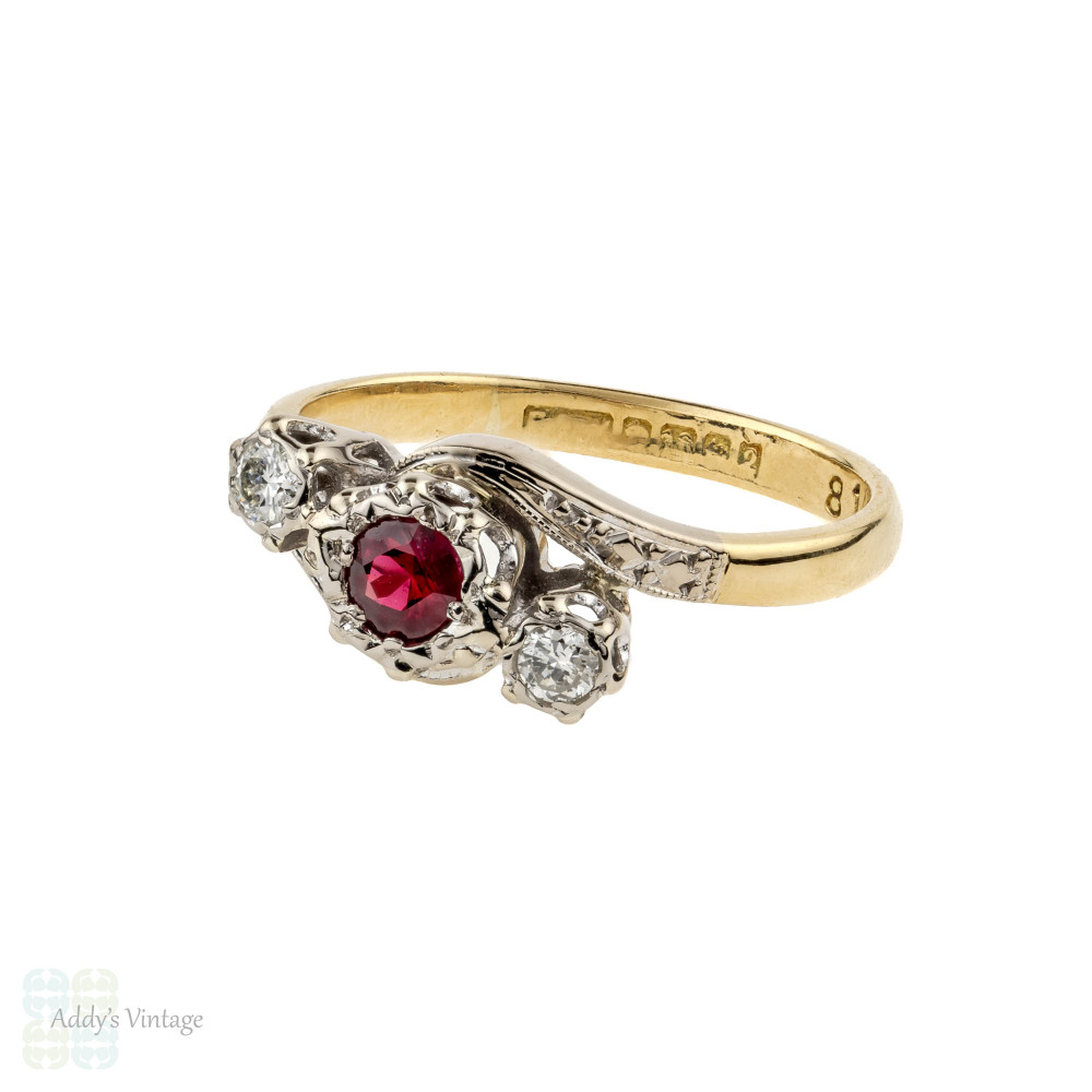 Ruby & Diamond Engagement Ring, Vintage Three Stone with Engraved Band. 18ct & Platinum.