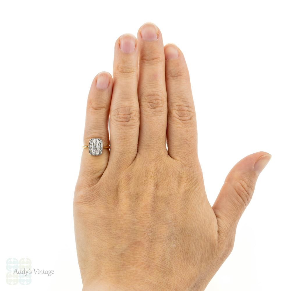 Art Deco Triple Row Diamond Ring, Panel Style with Milgrain Beading. 18ct & Platinum.