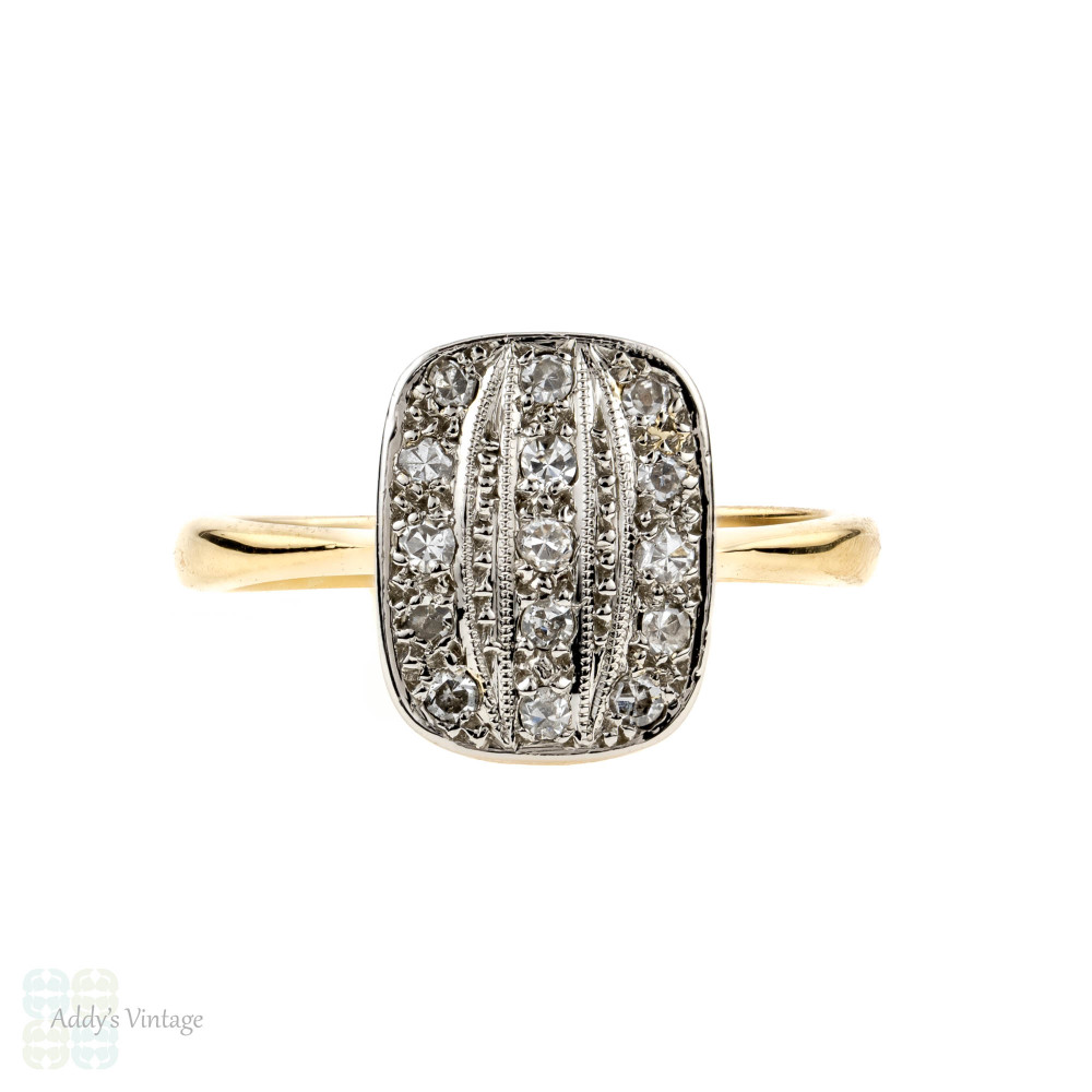 d9b0b21759fd4 Art Deco Triple Row Diamond Ring, Panel Style with Milgrain Beading. 18ct &  Platinum.