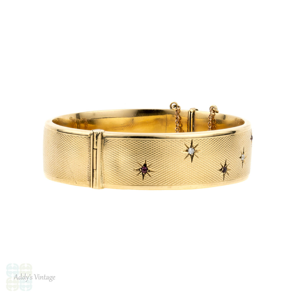 Ruby & Diamond 1960s 9ct Bracelet, 9k Yellow Gold Star Design Engine Turned Bangle.