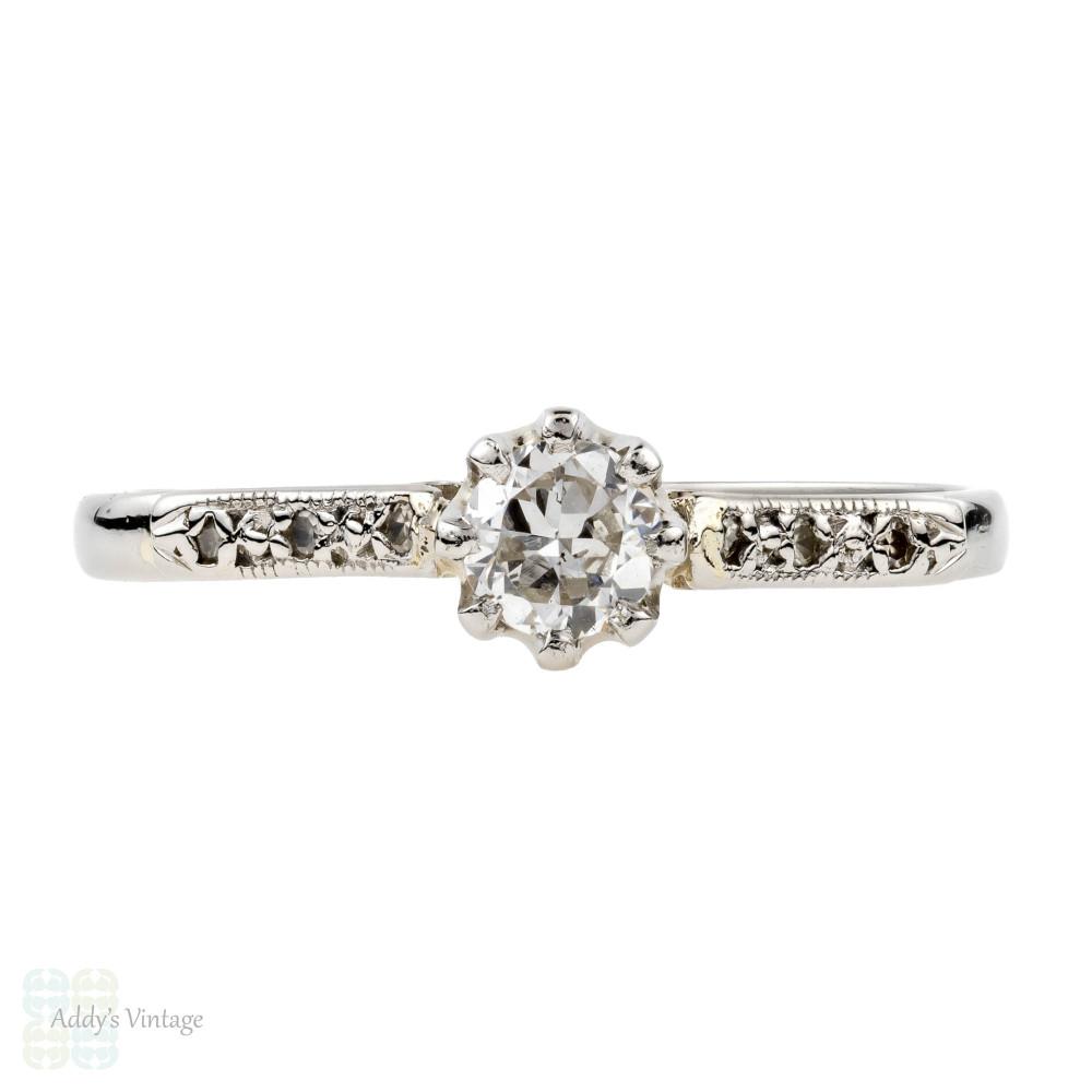Platinum Diamond Engagement Ring, Vintage 1930s Single Stone Ring, 0.25 ctw.