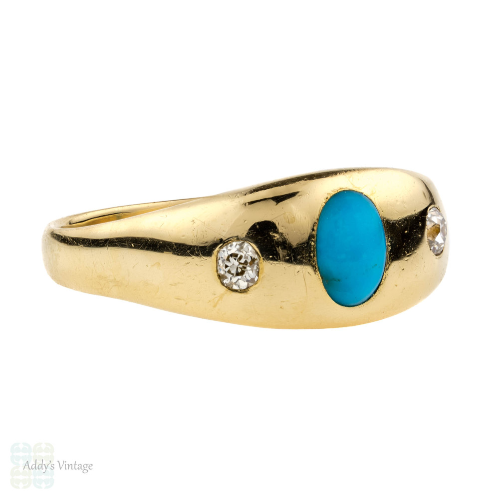 Victorian Turquoise & Old Mine Cut Diamond Ring, Gypsy Set Three Stone. 18ct Yellow Gold.