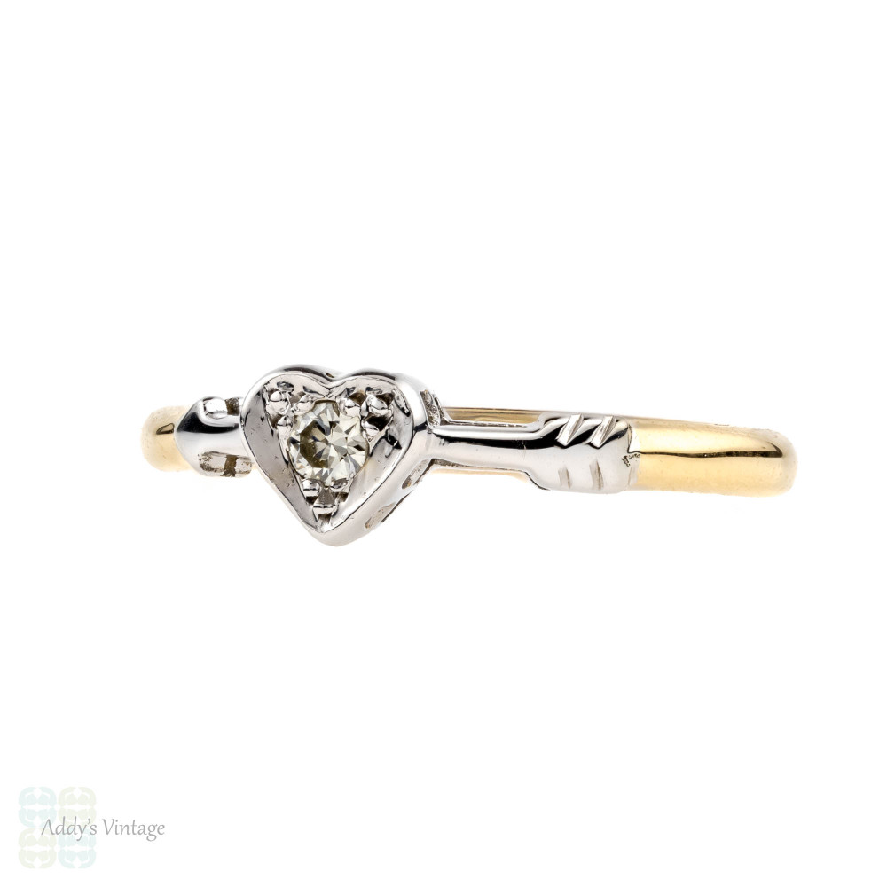 Vintage Arrow Through the Heart Diamond Ring, Love Heart Shape Single Stone. 18ct & Platinum.