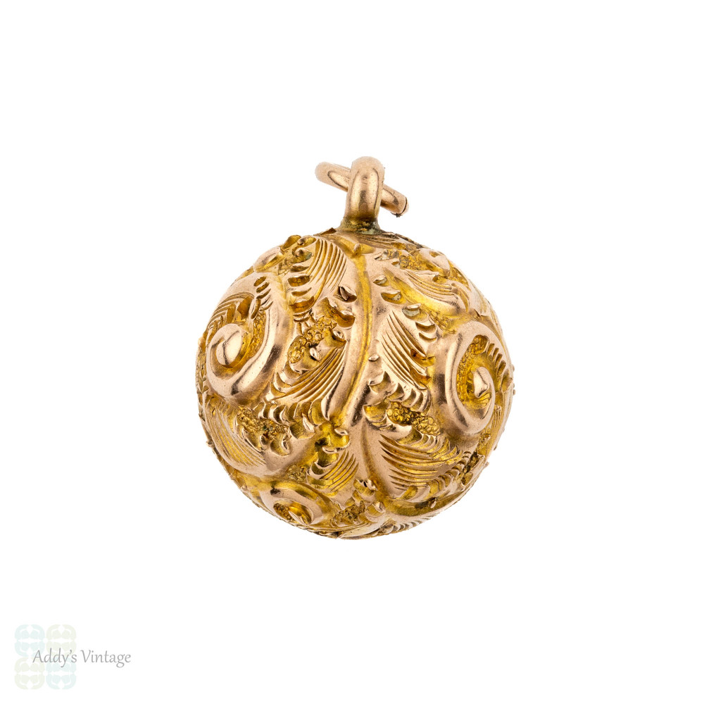 Antique Victorian 9ct Ball Charm. 9k Rose Gold Engraved Bauble Pendant.