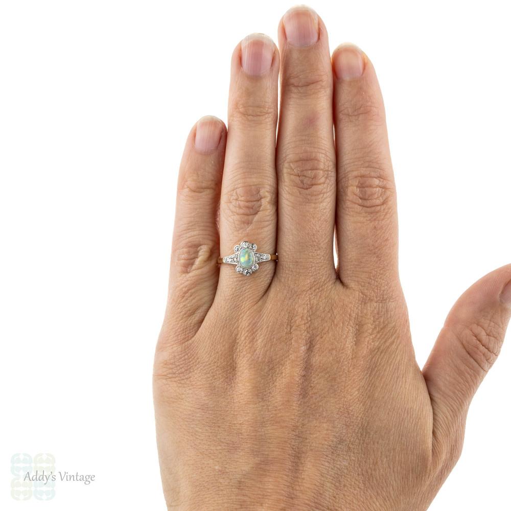 Edwardian Opal & Diamond Ring, Scalloped Edge Diamond Cluster. 18ct & Platinum.