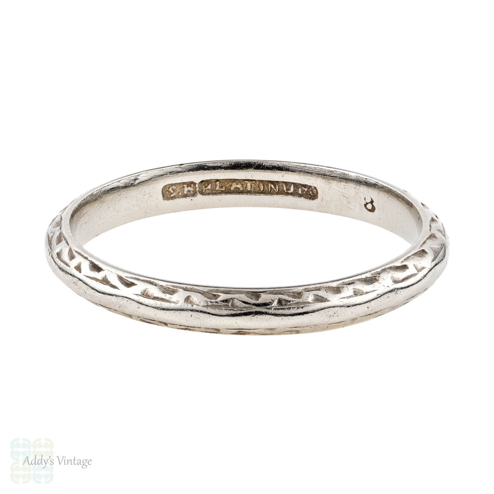 Engraved Knife Edge Platinum Wedding Ring. Narrow Vintage Stacking Band. Size M / 6.25.