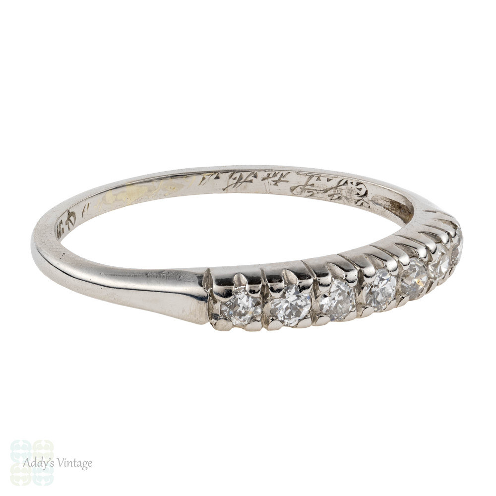 Vintage 1920s Diamond Wedding Ring, Platinum 7 Stone Band. 0.18 ctw.