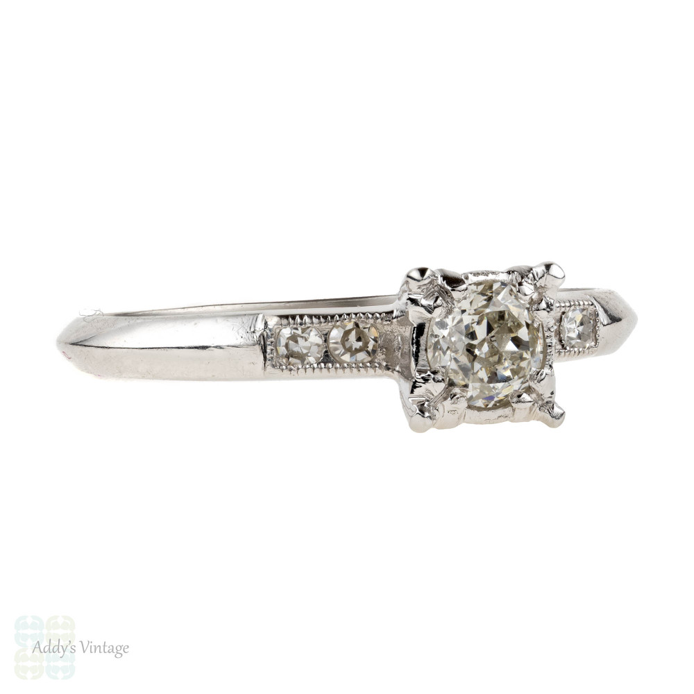 Art Deco Diamond Engagement Ring, Classic Platinum Solitaire. 0.26 ctw, Circa 1930s.