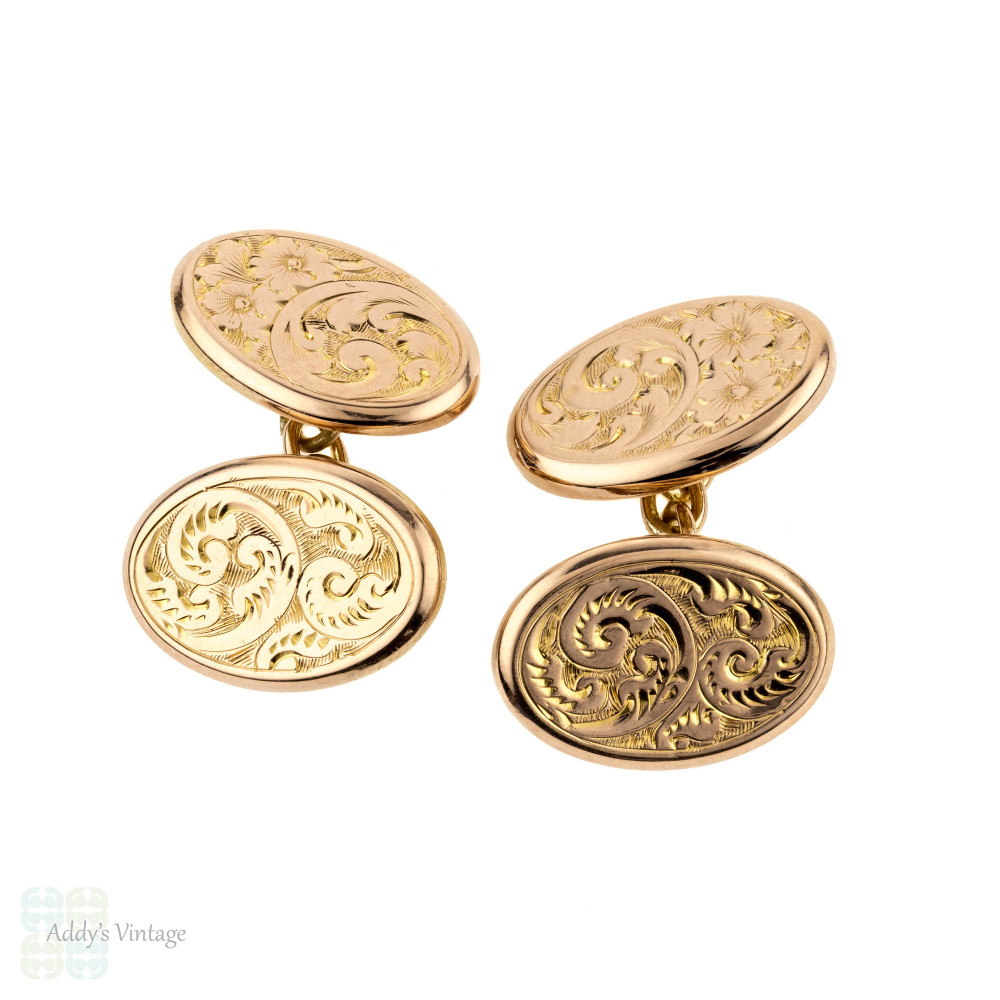 Victorian Cuff Links, 9ct 9k Gold Antique Engraved Leaf Foliate Design Cufflinks.