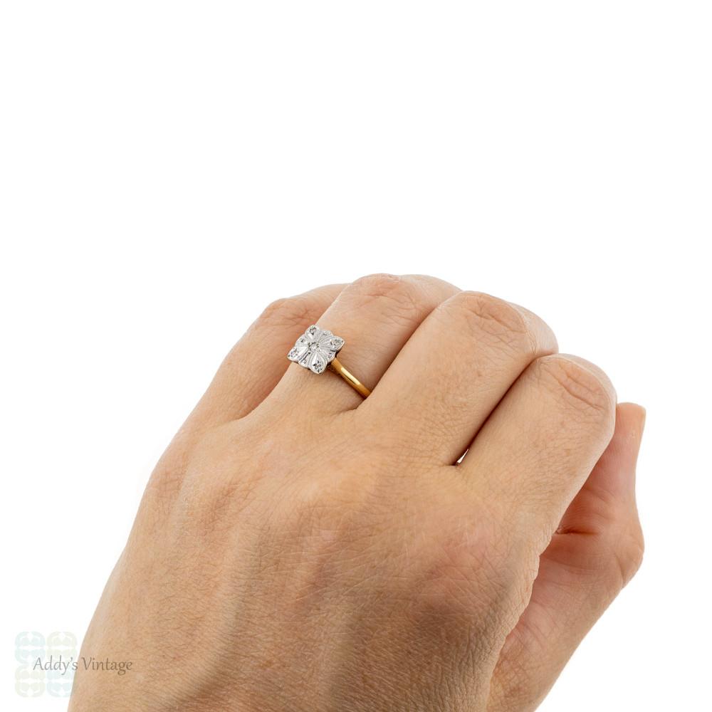 Art Deco Diamond Engagement Ring. Scalloped Square Cluster, Circa 1920s, 18ct & Platinum.