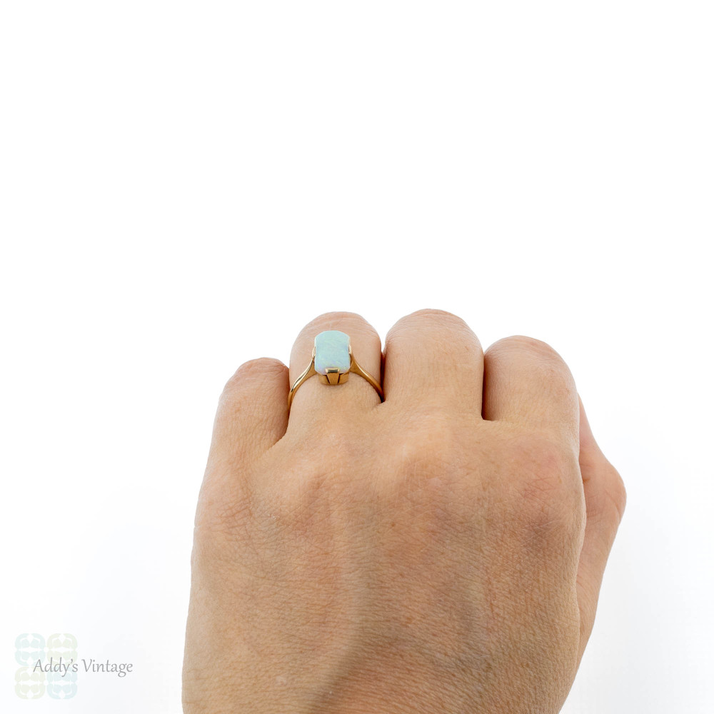 Antique Opal Single Stone Ring, Edwardian 9ct Rose Gold Rectangular Cut Opal Dress Ring.