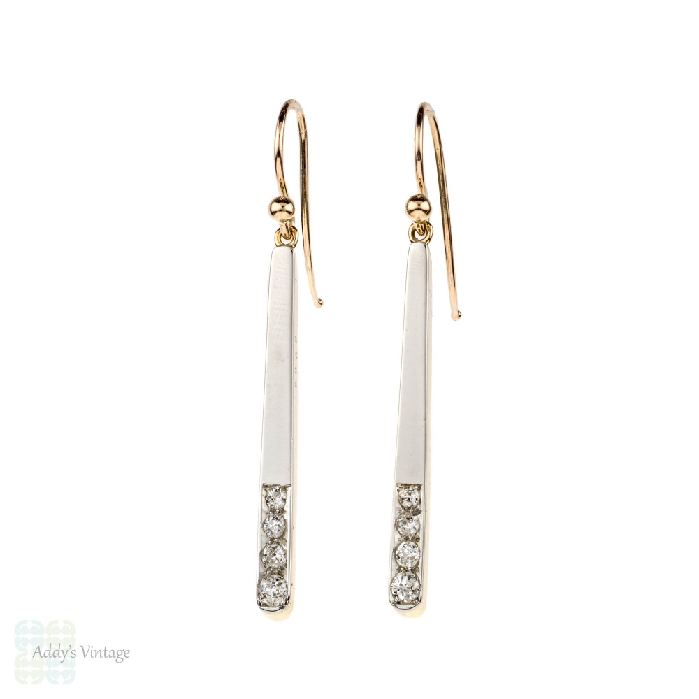 Graduated Diamond Drop Earrings, Line Dangles in 15ct Gold & Platinum. Victorian Conversion.