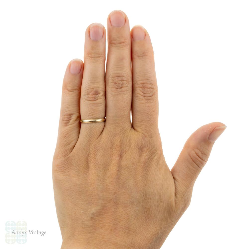 ArtCarved 14k Yellow Gold Wedding Ring, Vintage Ladies Milgrain Beaded Edge Band.