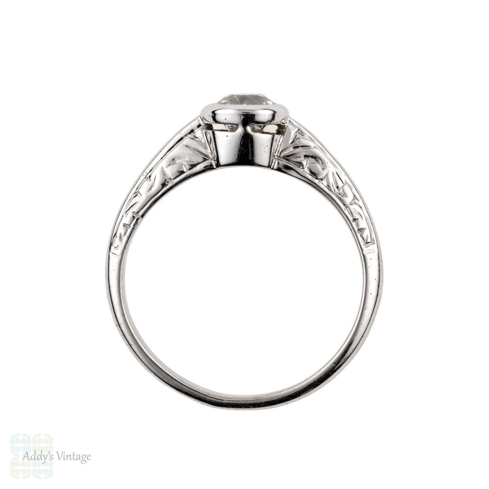 Old Mine Cut Diamond Engagement Ring, 0.45 ct. 14k Engraved White Gold Setting.