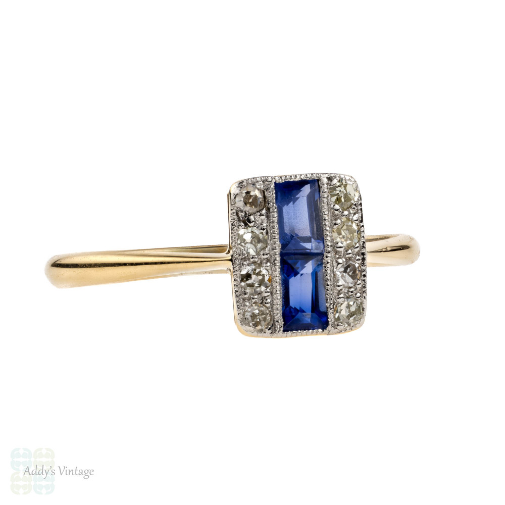 5ae8859542a37 Sapphire & Diamond Art Deco Triple Row Panel Ring, 18ct Gold & Platinum,  Circa 1920s.