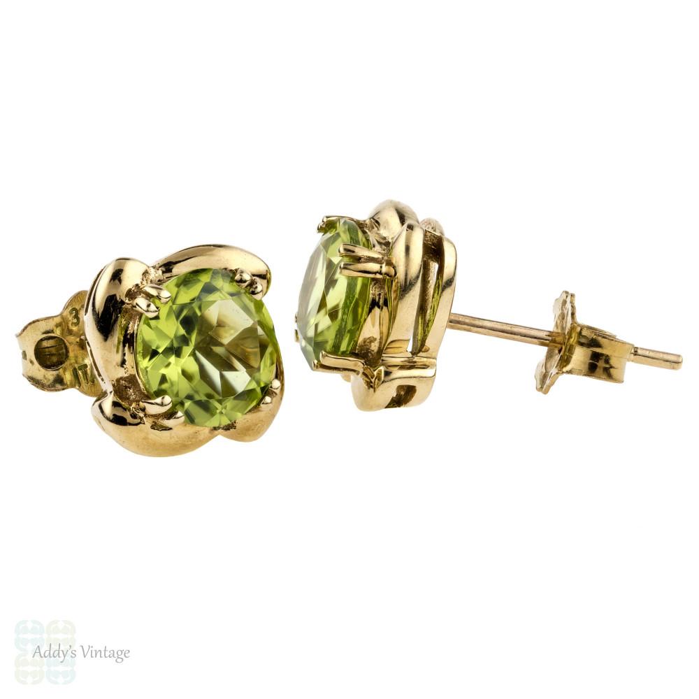Peridot 9k Yellow Gold Earrings, Vintage Green Grem 9ct Spiral Design Studs.