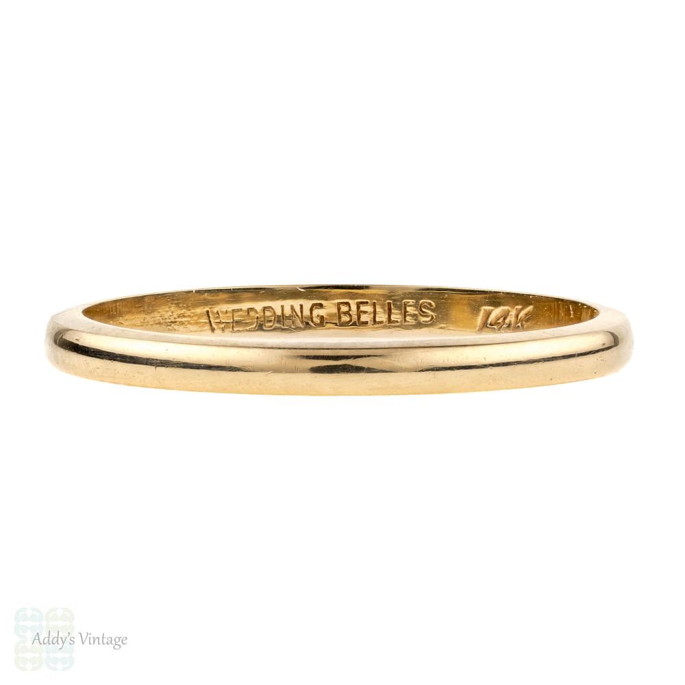 Vintage 14k Yellow Gold Wedding Band, Elegant Classic Ladies Ring. Size M.5 / 6.5.