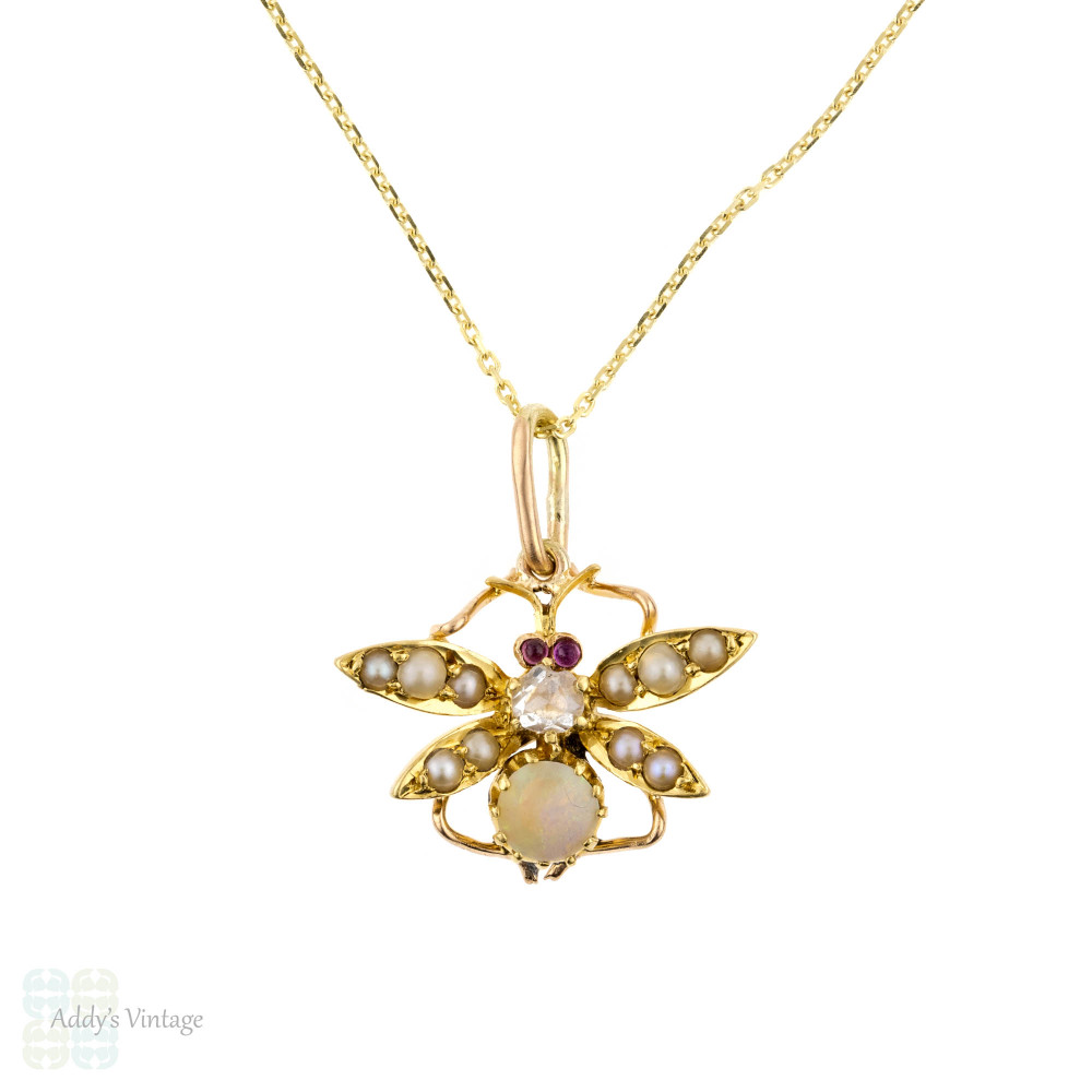 Gemset Bug Pendant, Antique Rose Cut Diamond, Ruby, Opal & Seed Pearl 15ct 15k Conversion, 9ct Chain.