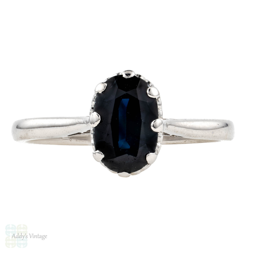 RESERVED Sapphire Engagement Ring, 1.04 ct Oval Cut Single Stone Vintage Ring, 18ct 18k White Gold