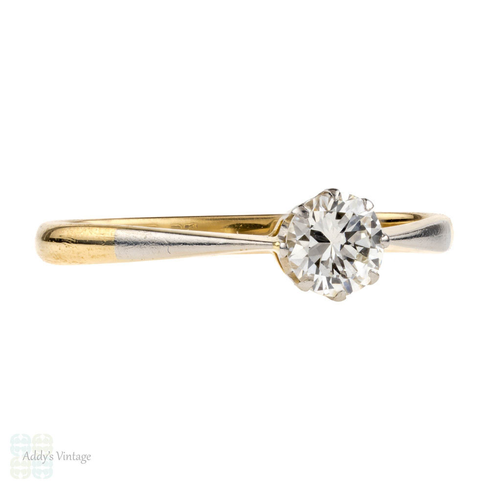 Vintage Classic Diamond Solitiare Engagement Ring. 0.36 ct, 18ct & Platinum, Circa 1930s.