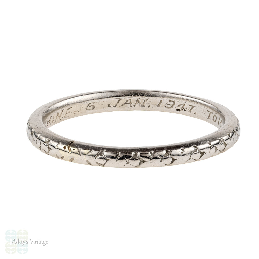 1940s Engraved Platinum Wedding Ring, Orange Blossom Flower Ladies Band. Size O / 7.25