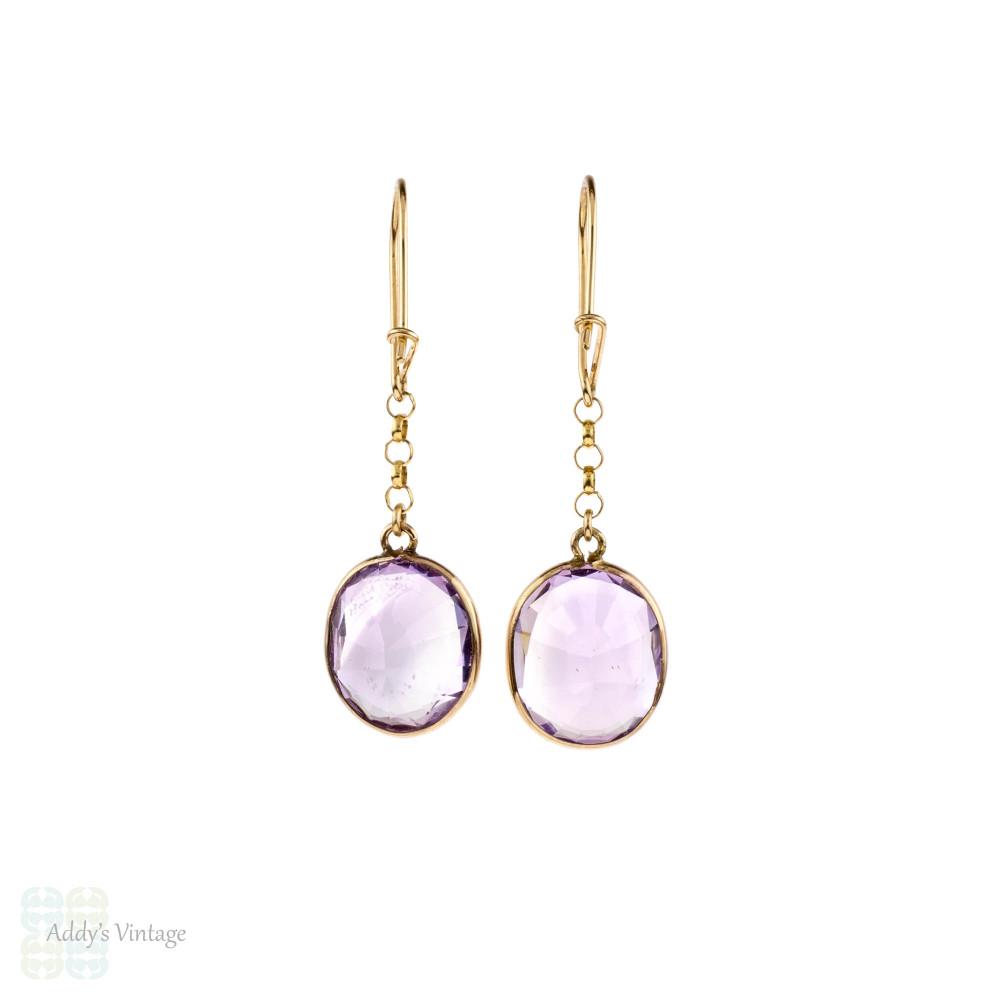 Vintage Amethyst Drop Earrings, 9ct 9k Yellow Gold Bezel Set Dangle Earrings.