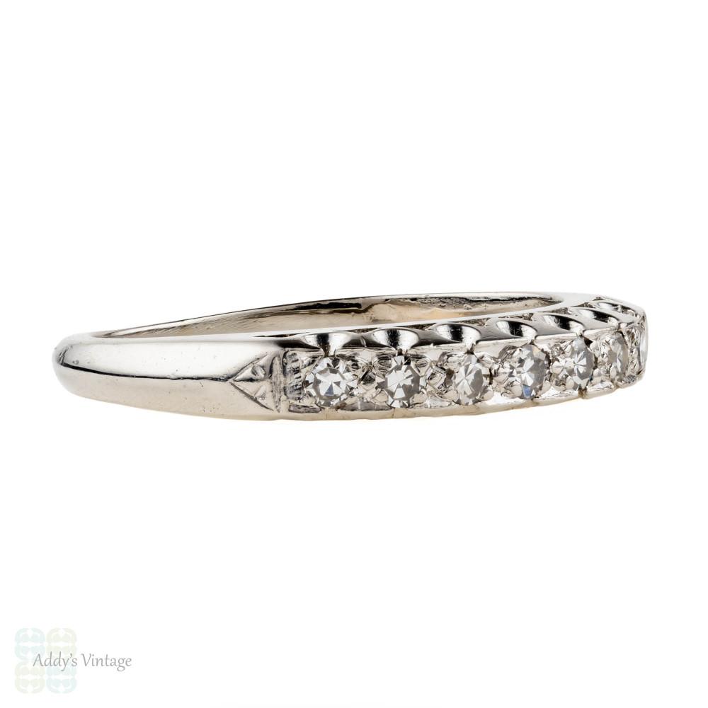 Vintage 1930s Diamond Wedding Ring, Platinum 7 Stone Ladies Wedding Band.