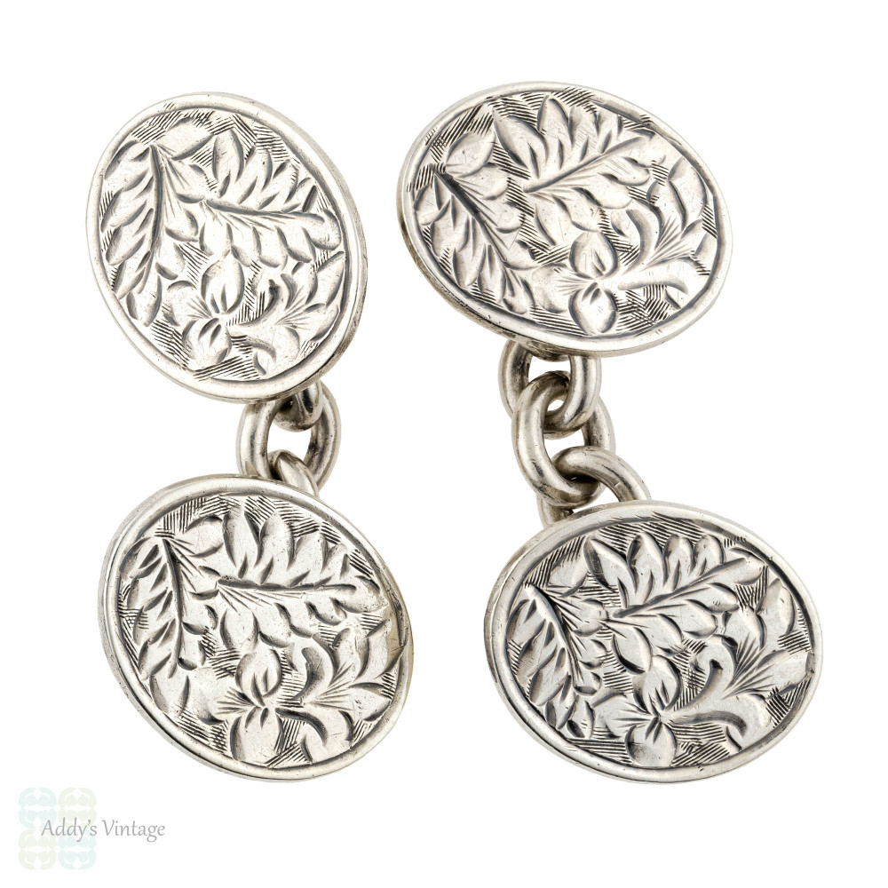 Antique Engraved Sterling Silver Cuff Links, Men's Floral Double Face Cufflinks, Chester 1900s.