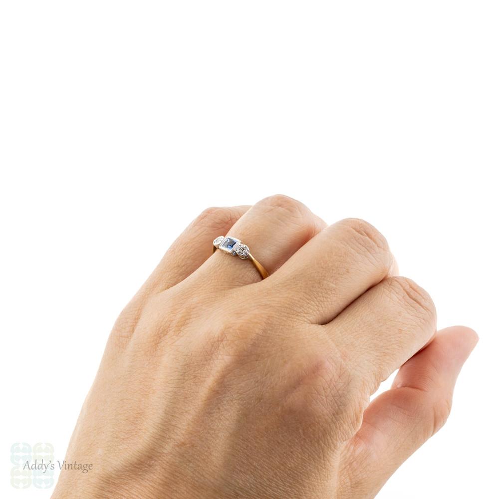 French Cut Sapphire & Diamond Three Stone Engagement Ring, 1930s 18ct Gold & Platinum.