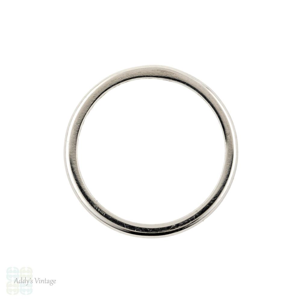 Platinum Wedding Ring, Vintage 1950s Slender Ladies Wedding Band. Size L / 5.75.