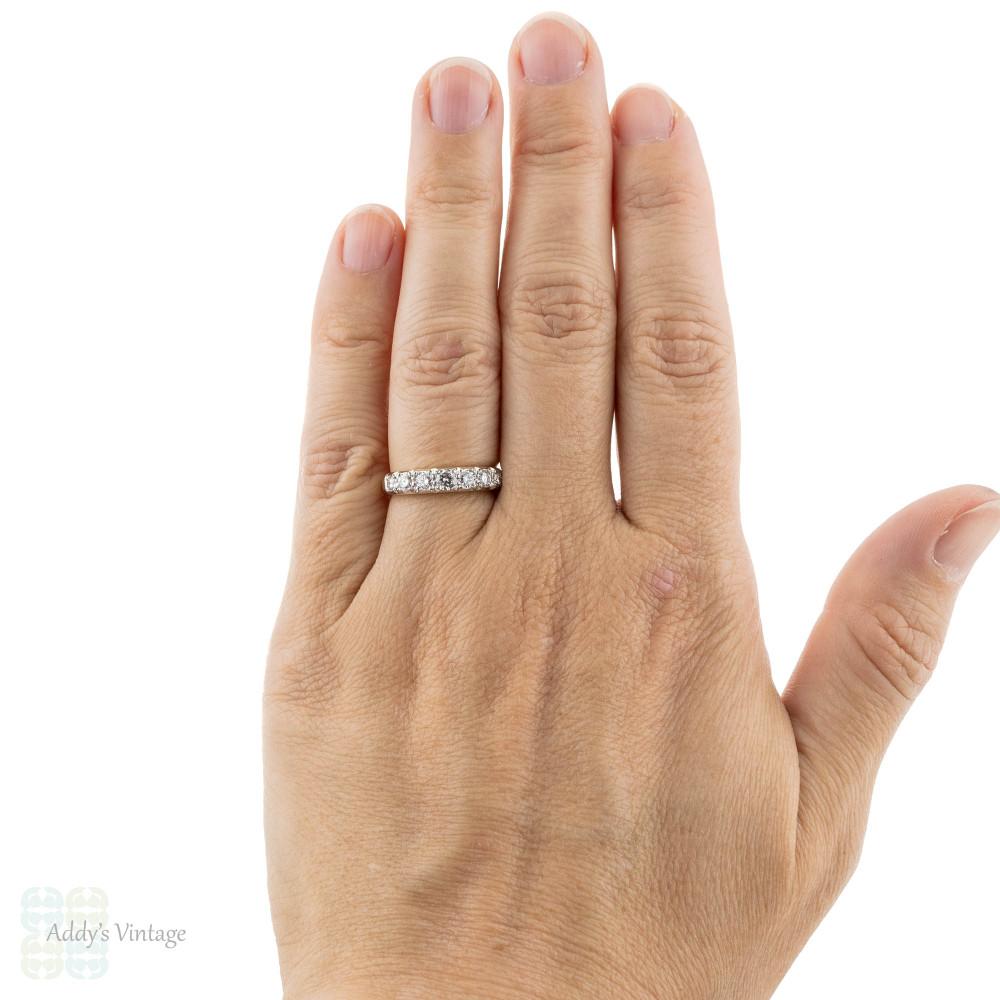 Diamond Half Hoop Wedding Ring, Graduated 7 Stone Two-Tone 18ct Gold Band.