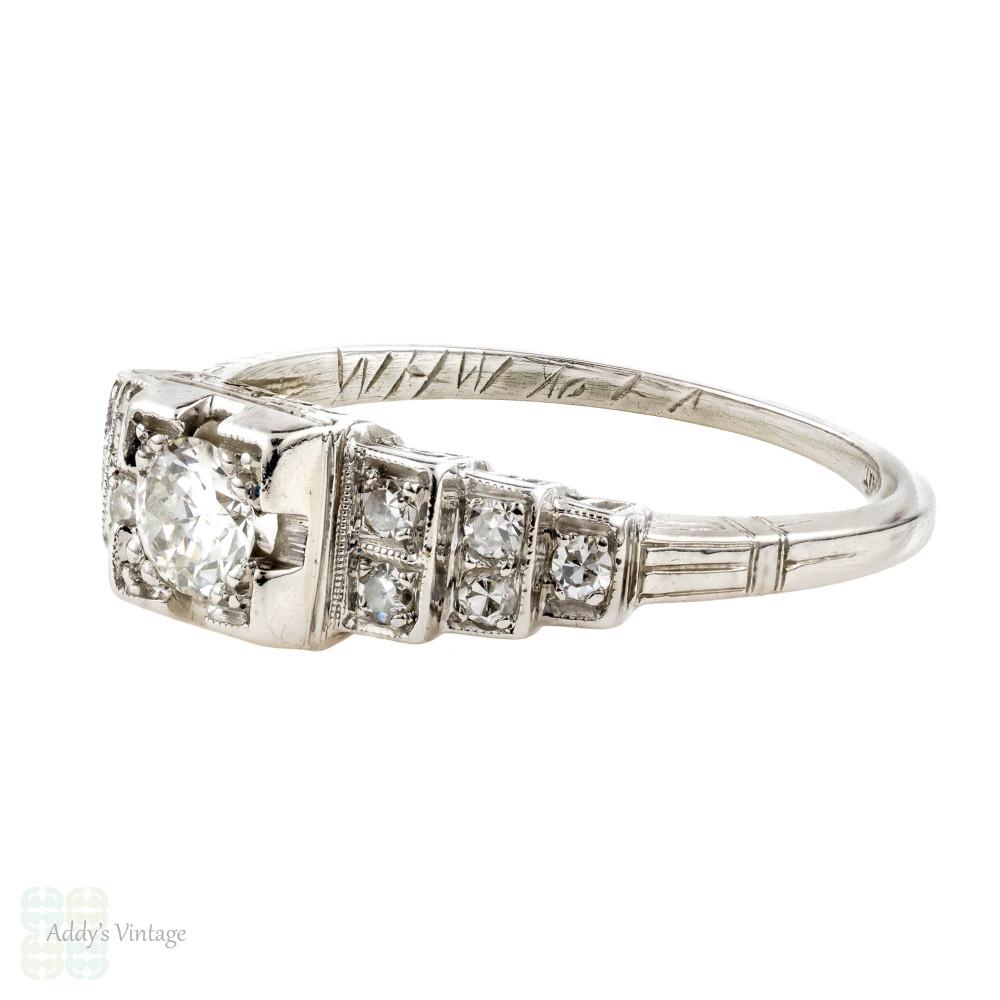 Platinum Engagement Ring & Wedding Band Set, 1930s Stepped Design Engraved Diamond Rings.