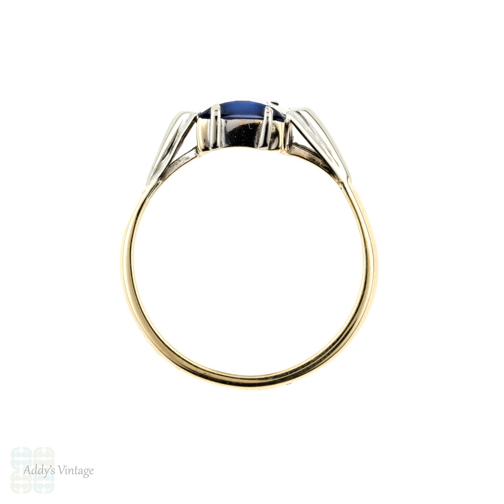 Synthetic Sapphire Single Stone Ring, Art Deco 9ct White & Yellow Gold Gemstone Ring.