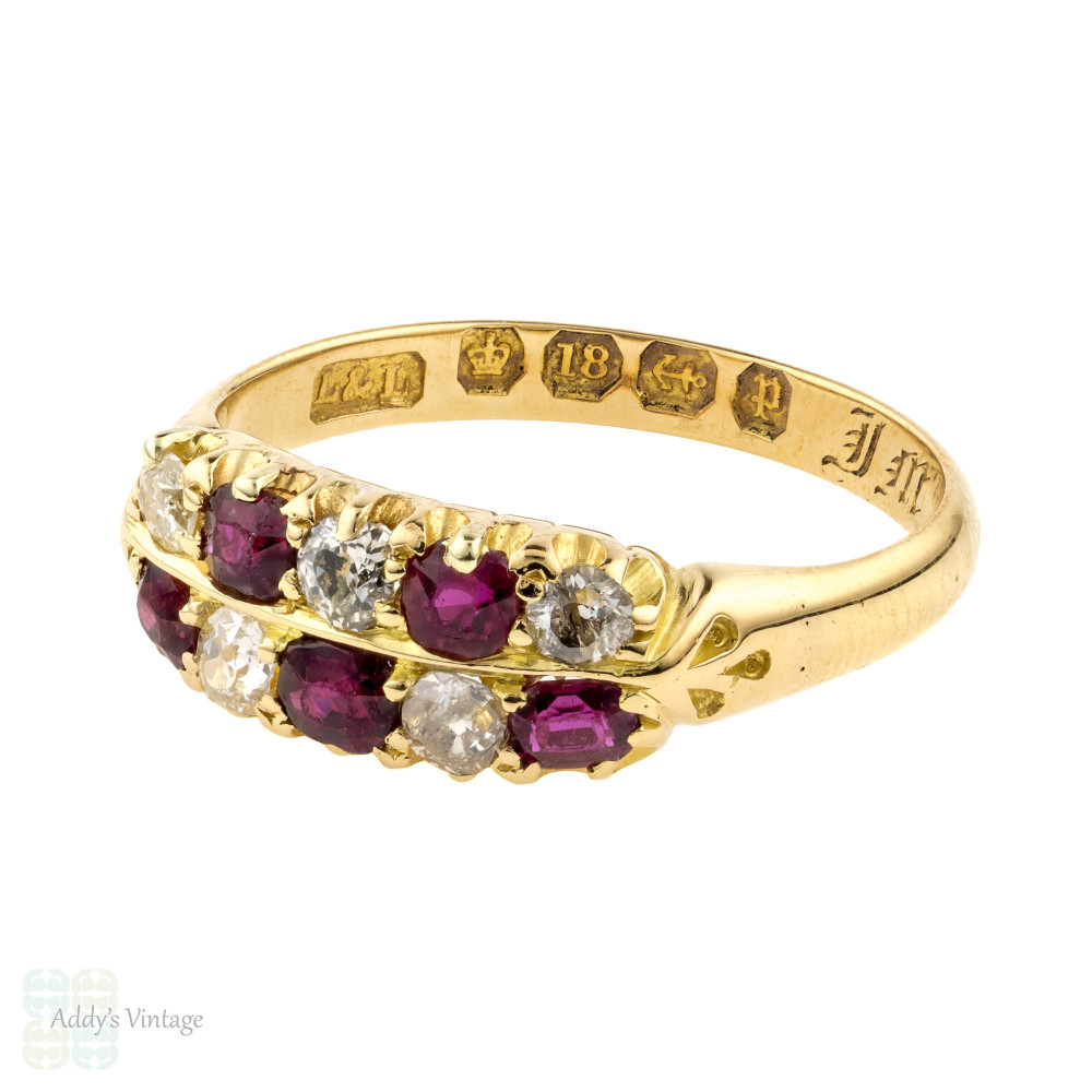 Victorian Chequerboard Ruby & Old Mine Cut Diamond Double Row Ring, 18ct 1880s.