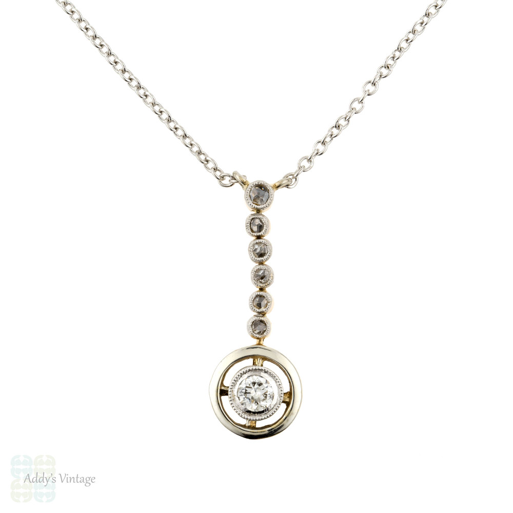 Diamond  Drop Pendant, Art Deco Graduated Bezel Set Necklace. 15ct Gold & Platinum.