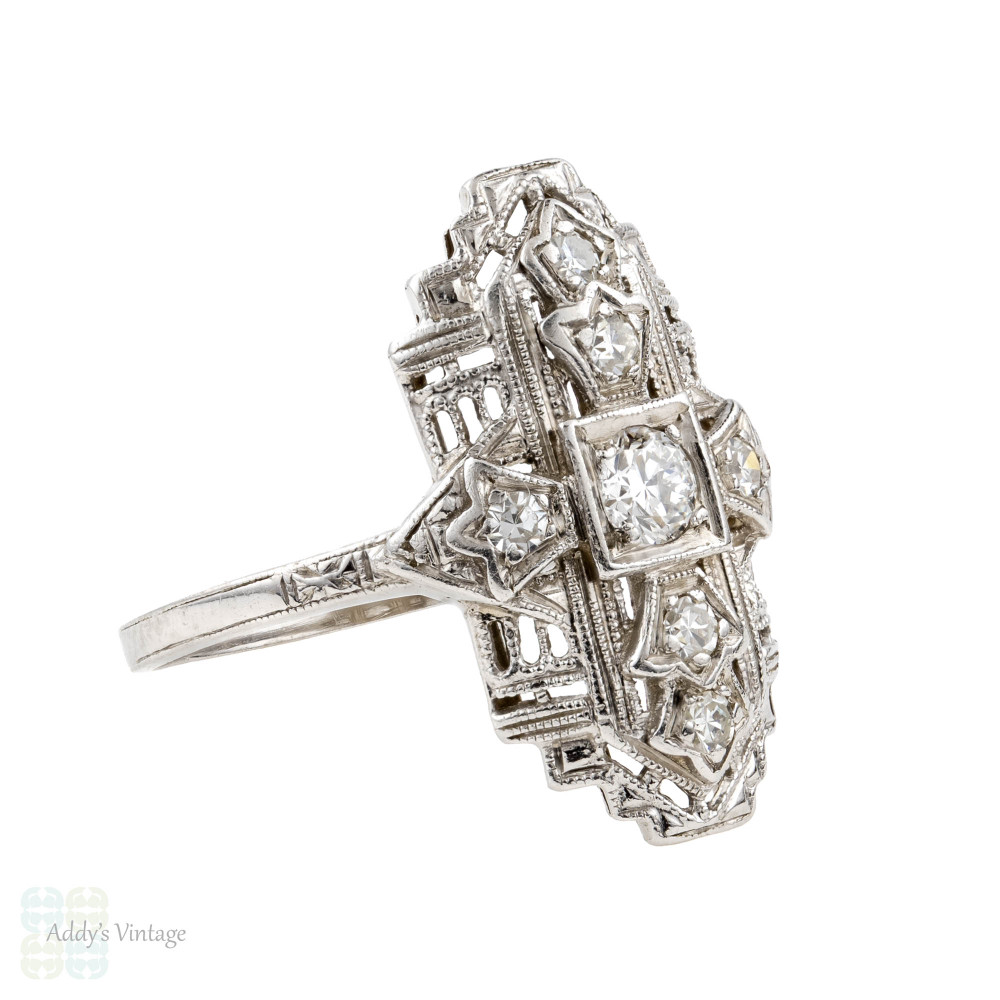 Art Deco Diamond Cocktail Ring, Platinum Navette 1930s Dress Dinner Ring.