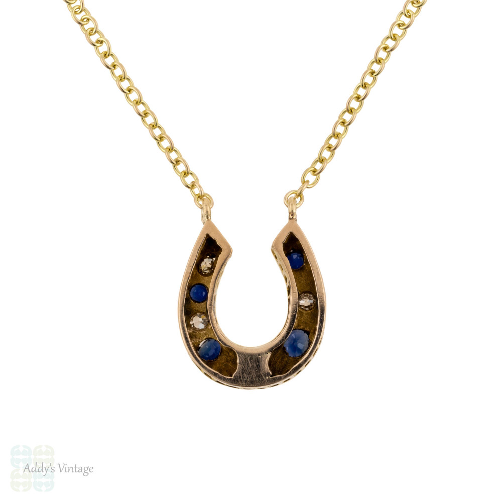 Sapphire & Diamond Horseshoe Necklace, 9ct 9k Victorian Lucky Horseshoe Conversion Pendant.