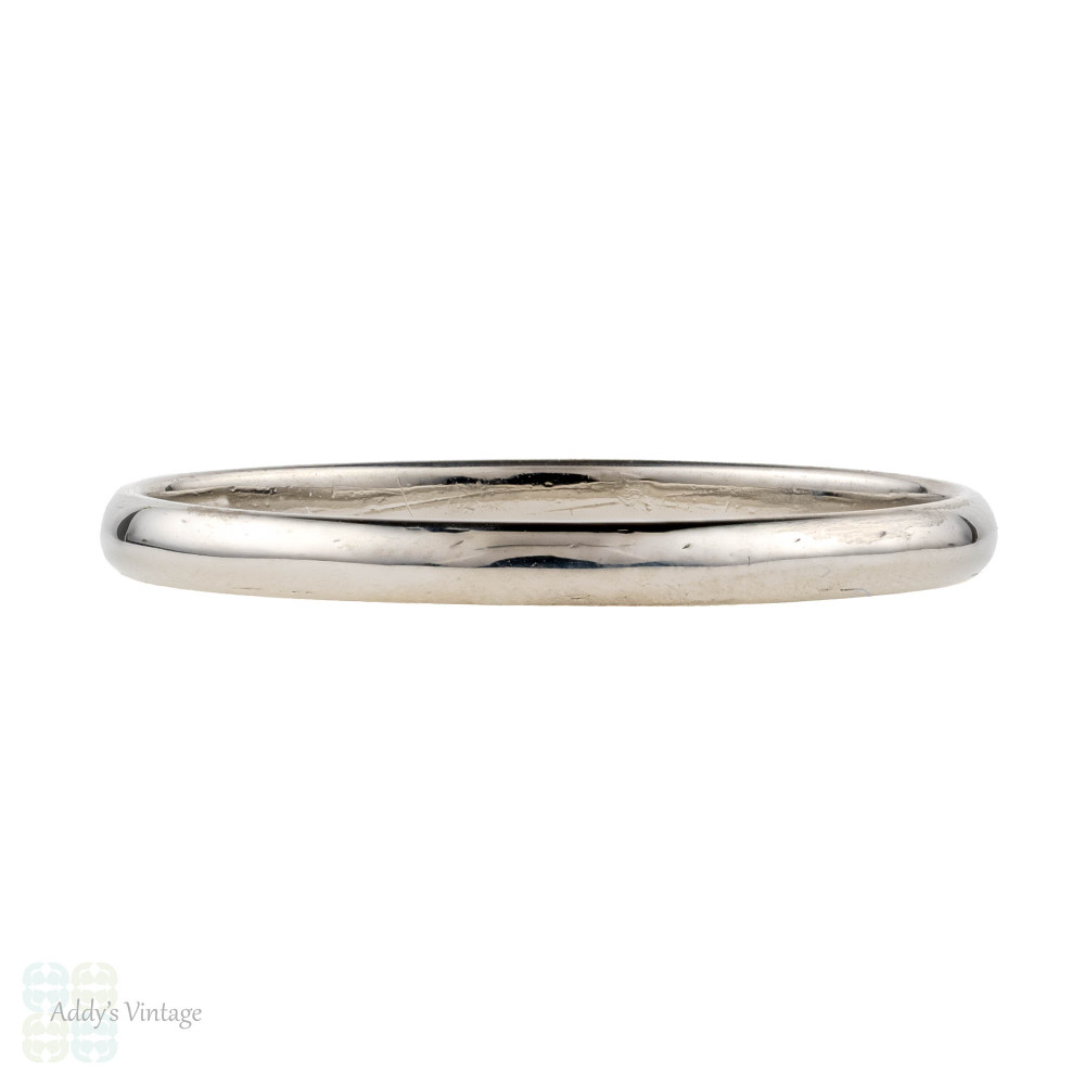 Platinum Vintage Ladies Wedding Ring, Simple D Shape Profile Slender Band. Size O / 7.25.