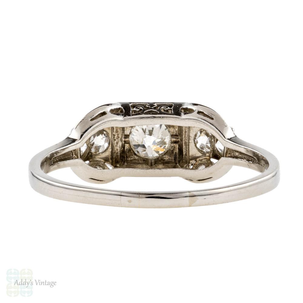 Platinum Stepped Diamond Engagement Ring, Vintage 1920s Art Deco Old European Cut Ring.