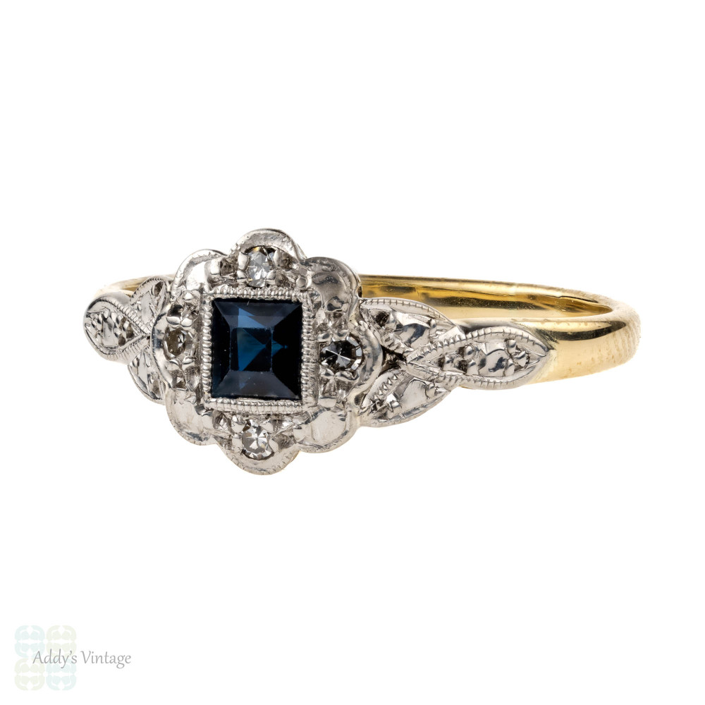 Sapphire Art Deco Engagement Ring with Diamond Halo, 18ct & Platinum.