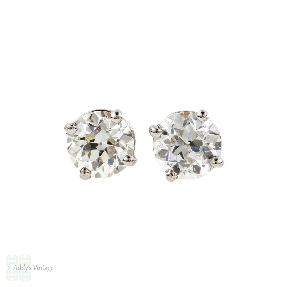 Old European Cut Diamond Stud Earrings, 0.69 ctw Platinum Basket Set OEC Earrings.