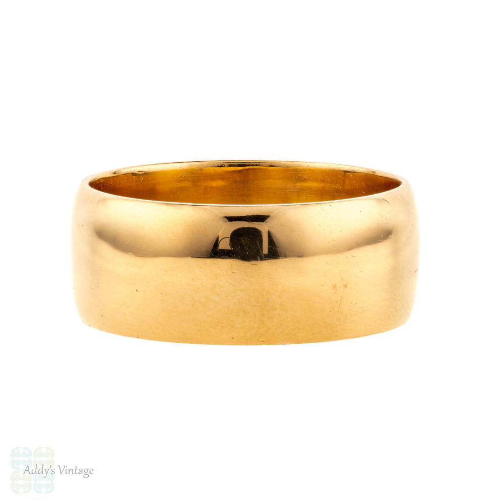 Vintage 22ct Wedding Ring, Wide 1960s Mens 22k Band, Size S.5 / 9.5.